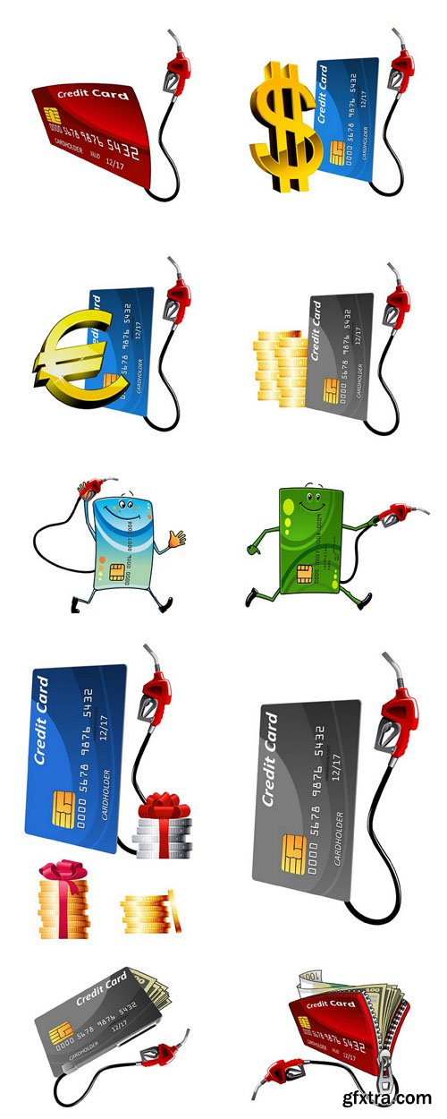 Credit Card And Gas Nozzle - 10 Vector