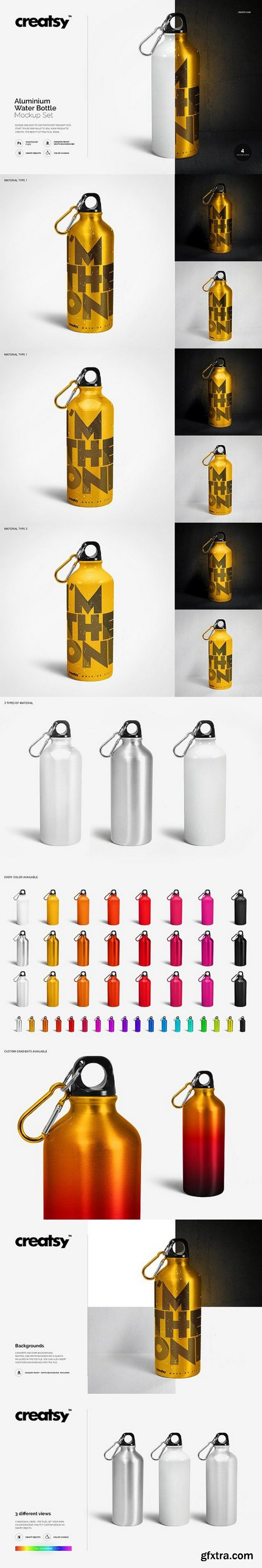 CM - Aluminium Water Bottle Mockup Set 1146800