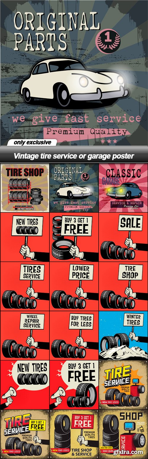 Vintage tire service or garage poster - 18 EPS
