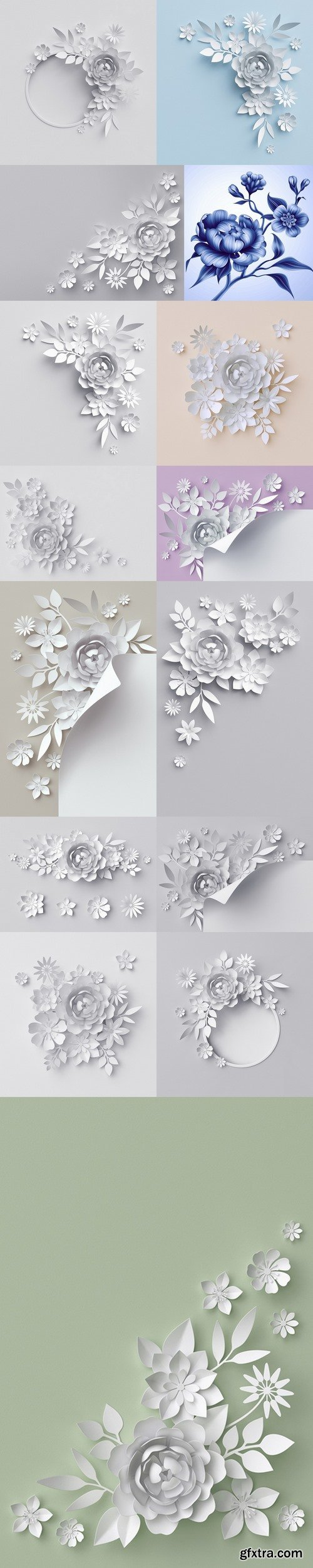3d render, digital illustration, white paper flowers, floral background 2
