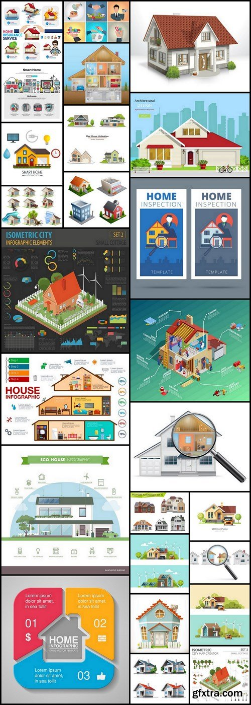 House Home Design Elements - 25 Vector