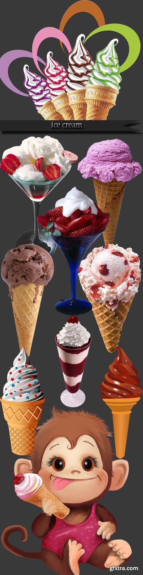 Ice cream on a transparent background