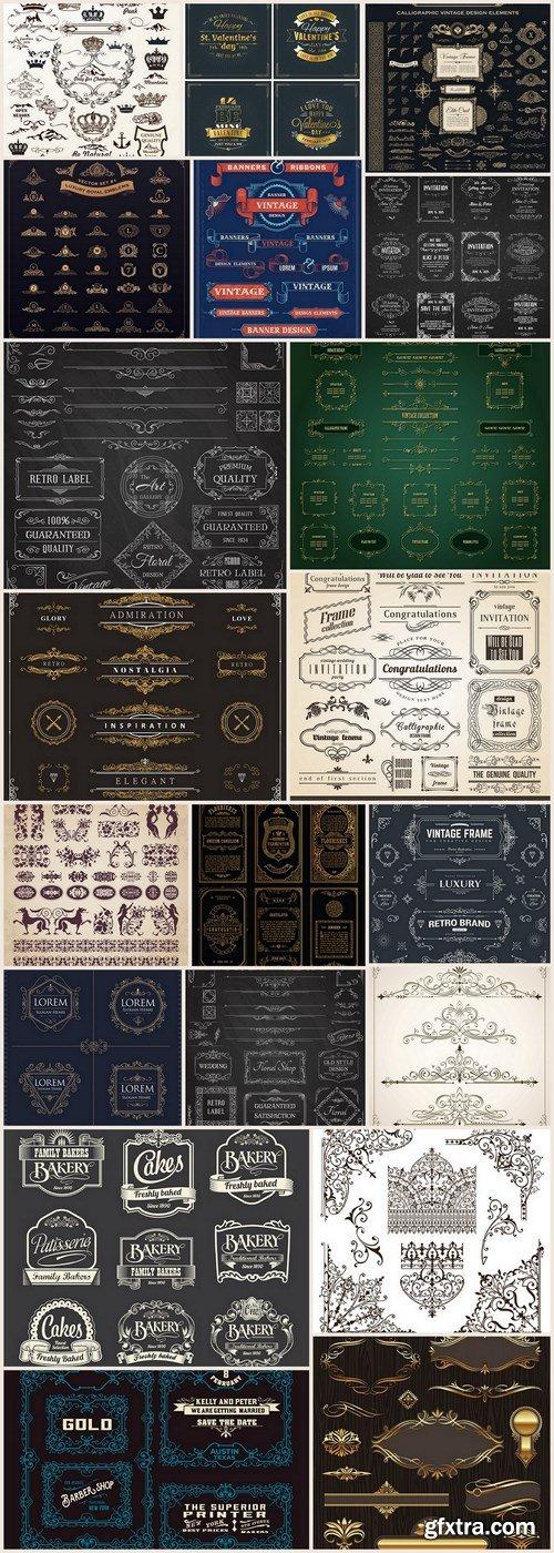 Calligraphic Vintage Elements - 20 Vector