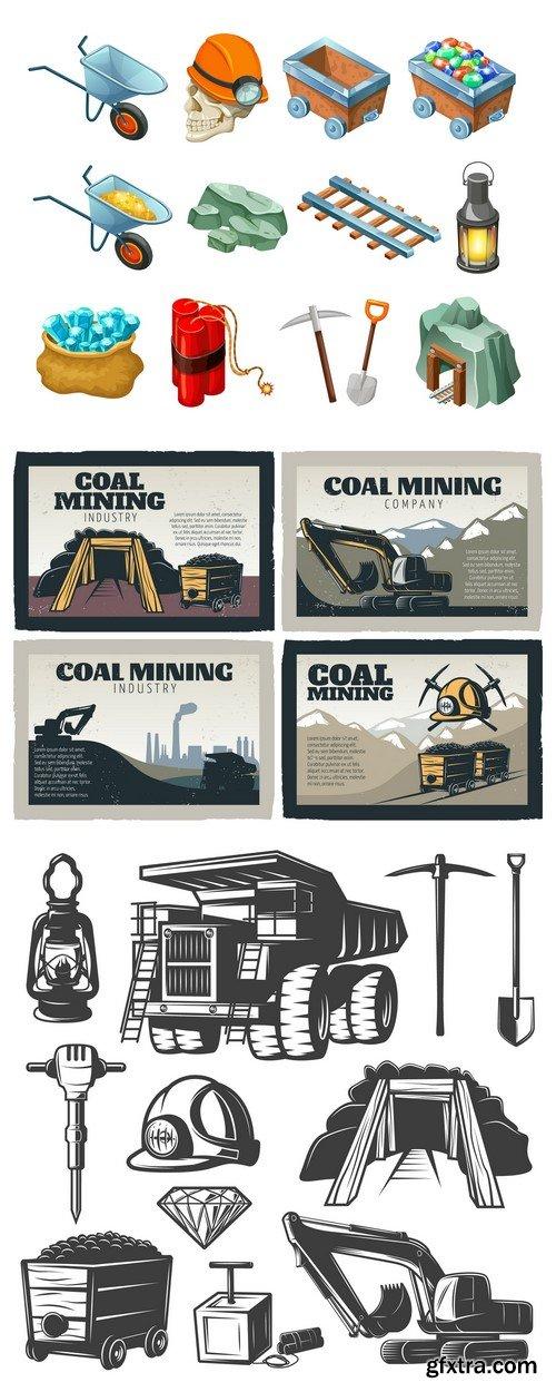 Mining industry emblem design 3X EPS