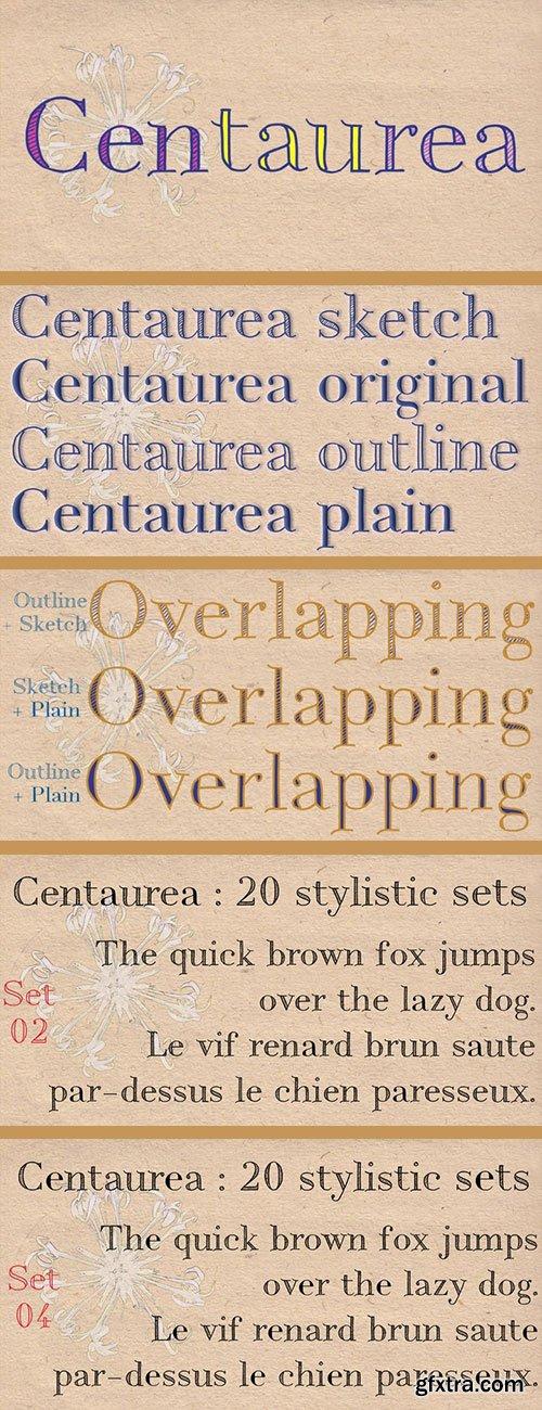 Centaurea - Sketch, Outline and Plain Style 4xTTF