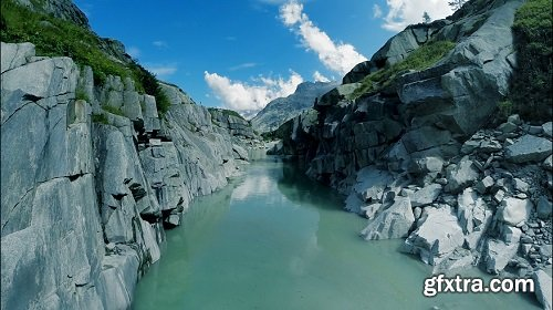 Сanyon river bank aerial view mountain nature landscape