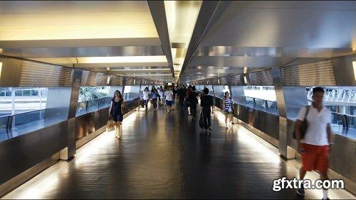 Сommuters on a moving walking transiting hong kong central mtr station hong