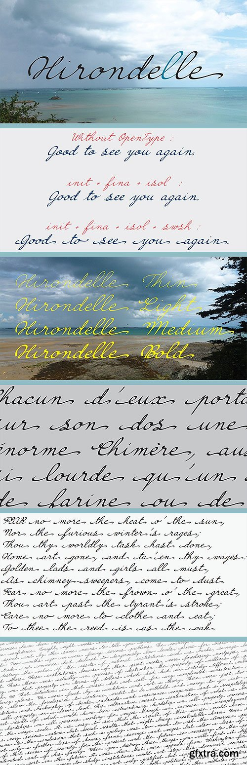 Hirondelle - Connected Handwriten Font Family 4xTTF