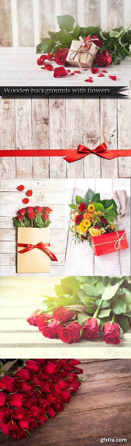 Wooden backgrounds with flowers