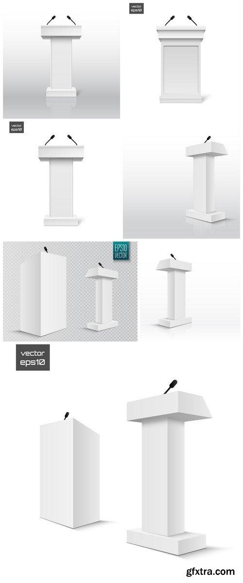 Vector White Podium Tribune Rostrum Stand 7X EPS