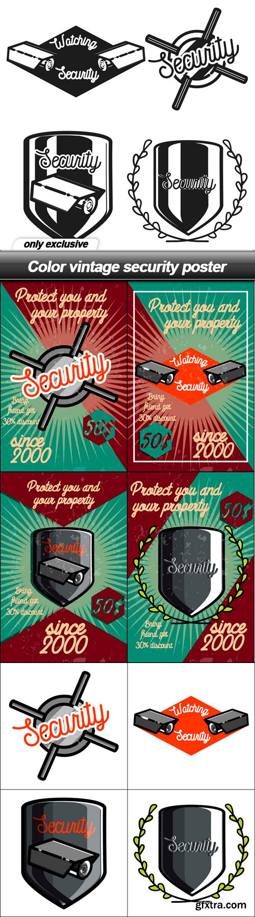 Color vintage security poster - 9 EPS