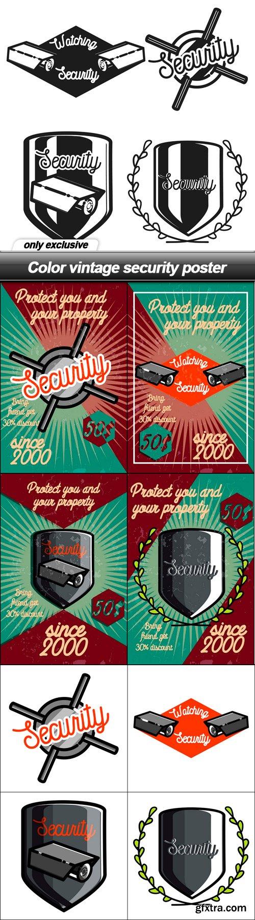 Color vintage security poster - 9 EPS