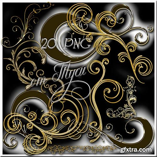 Design elements - Curls - Black Gold