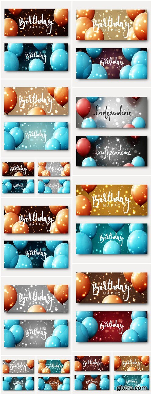 Birth Day Banner With Balloons - 14 Vector