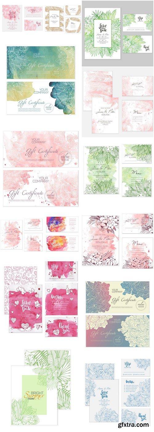 Abstract Floral Wedding Card - 14 Vector