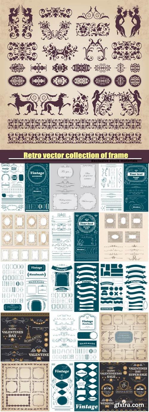 Retro vector collection of frame, decorative ornament design elements