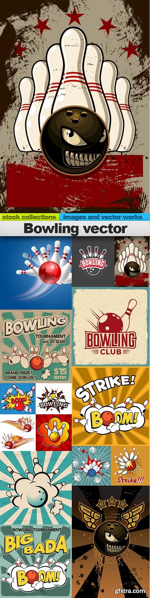 Bowling vector, 15 x EPS