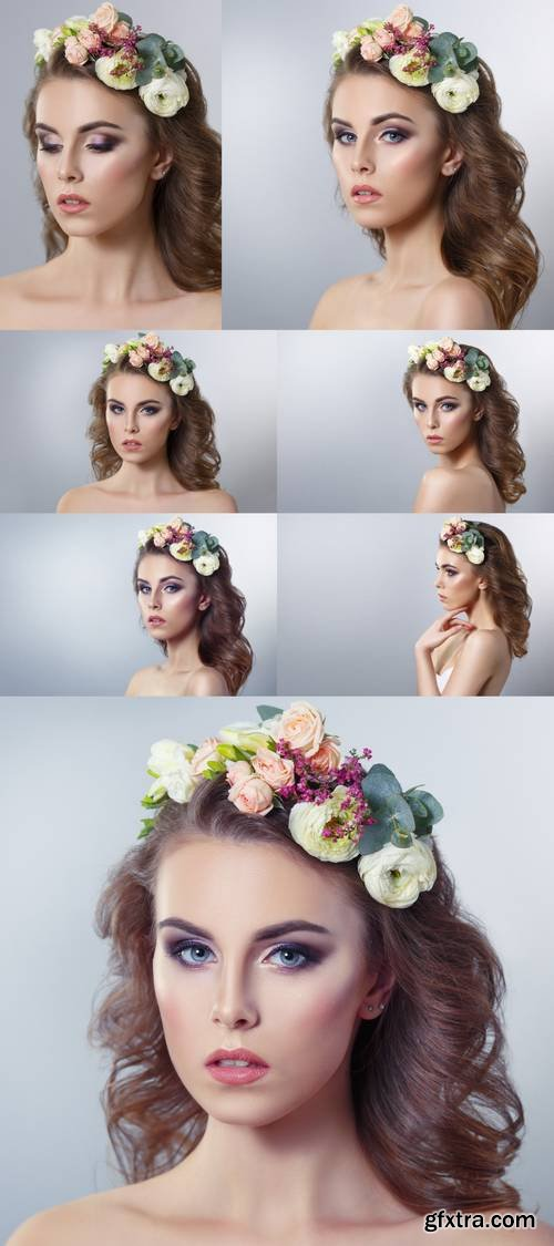 Delicate Spring Beauty Portrait of a Beautiful Girl with a Wreath of Flowers on His Head Isolated