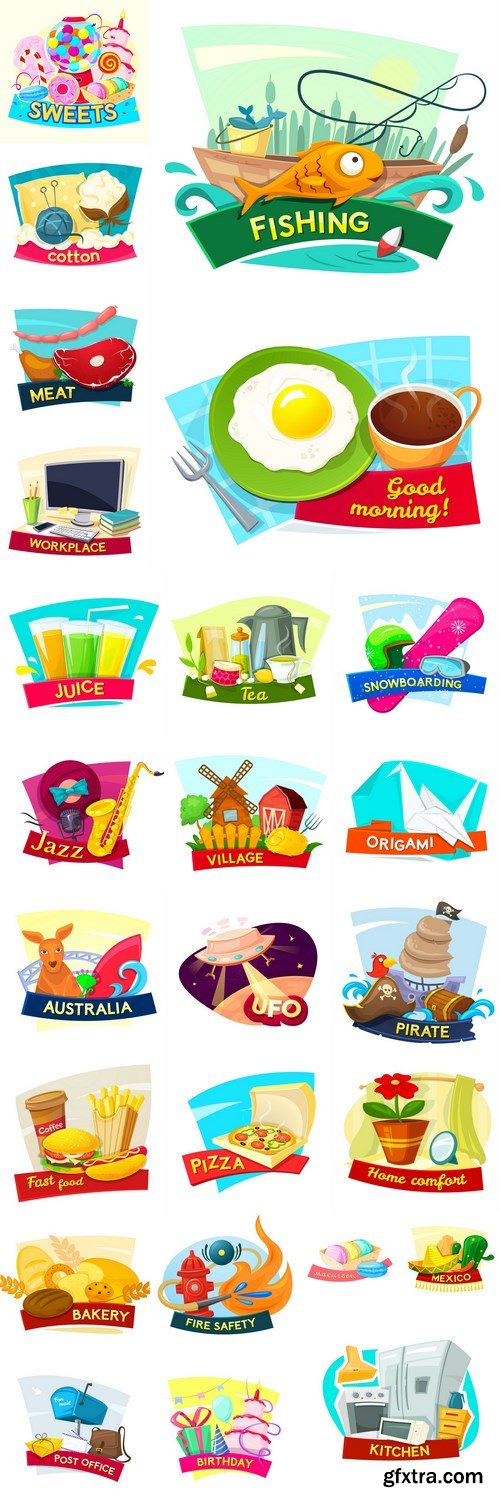 Different Cartoon Design Elements - 25 Vector