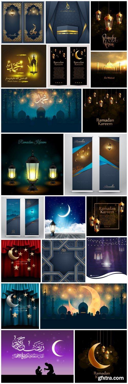Eid Mubarak Ramadan Kareem Background - 20 Vector