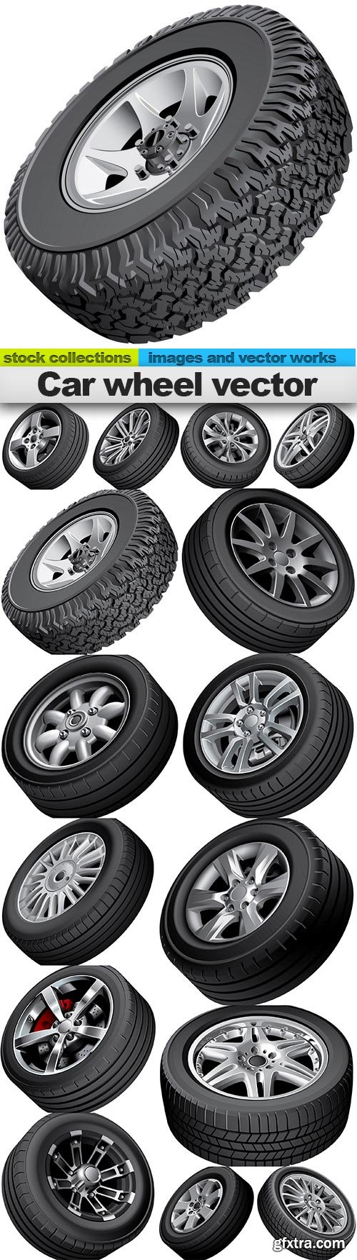 Car wheel vector, 15 x EPS