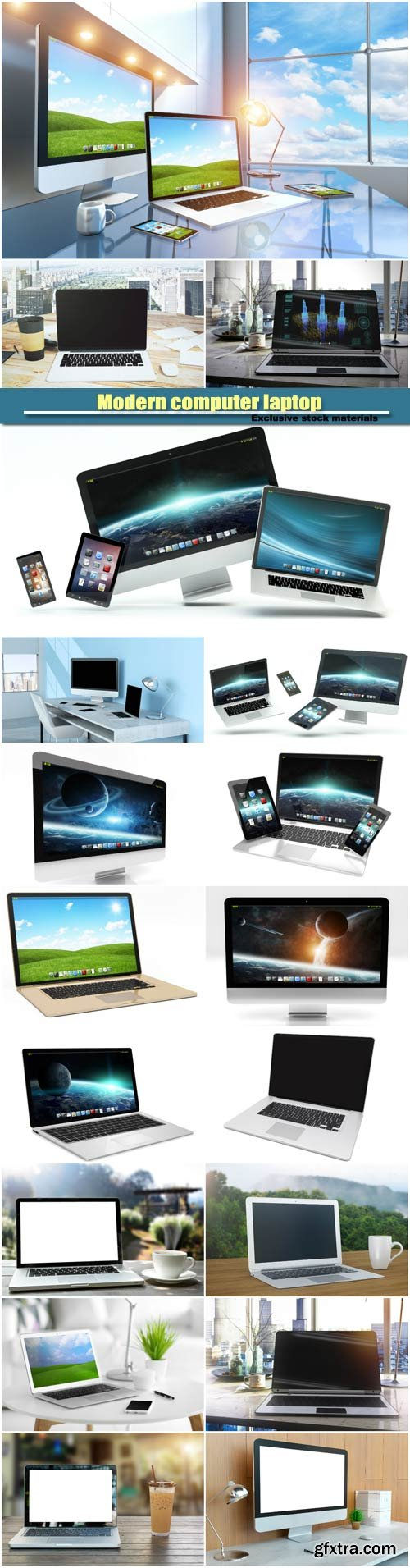 Modern computer laptop, mobile phone and tablet floating
