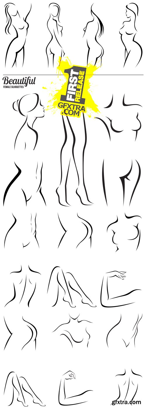 Female Body Parts Silhouettes Vector