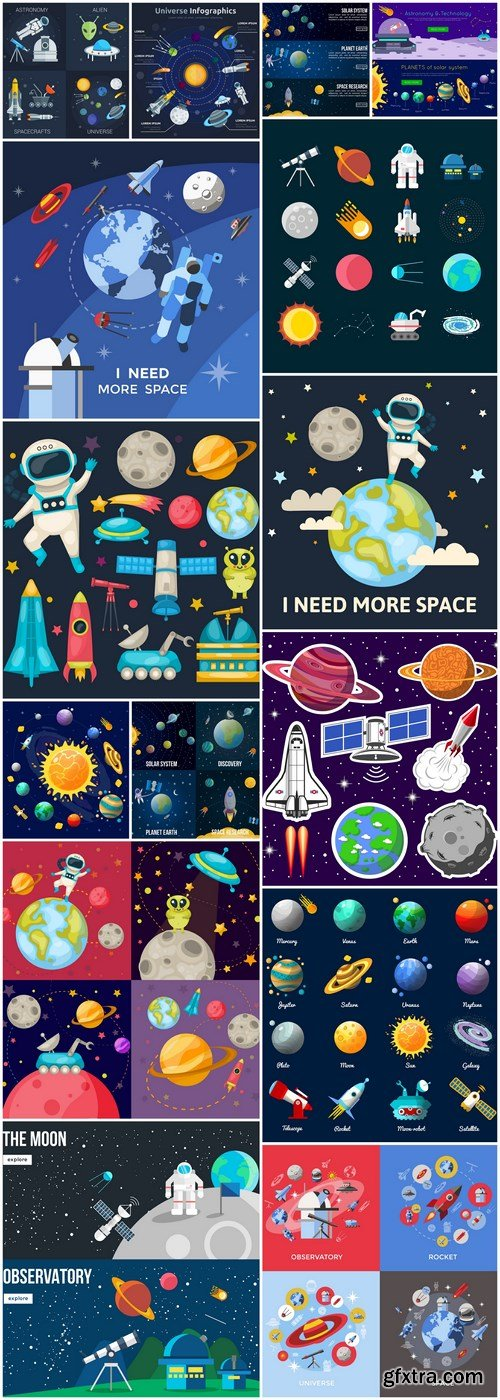 Flat Colored Space Illustration - 16 Vector