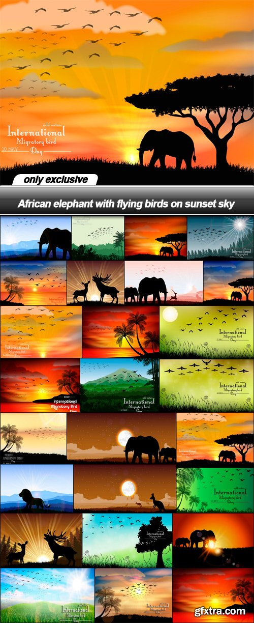 African elephant with flying birds on sunset sky - 26 EPS