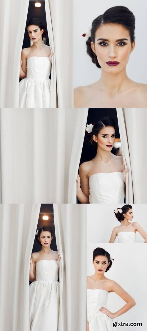 Beautiful Brunette Bride in White Wedding Dress