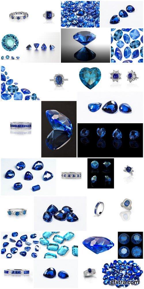 Sapphires - Gemstones, Set of 32xUHQ JPEG Professional Stock Images