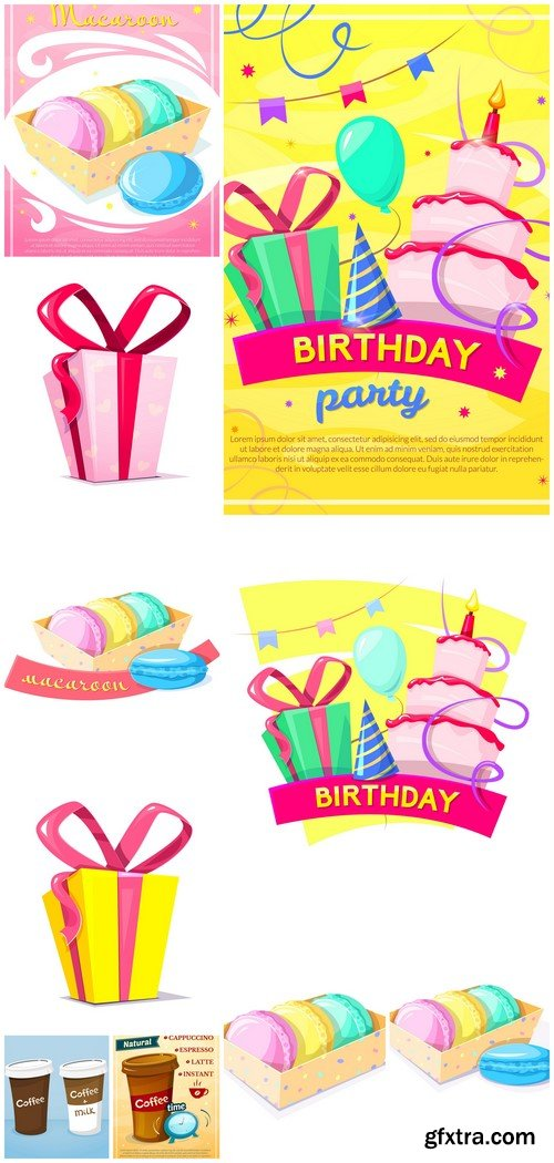Birthday concept design poster, colorful greeting card 10X EPS