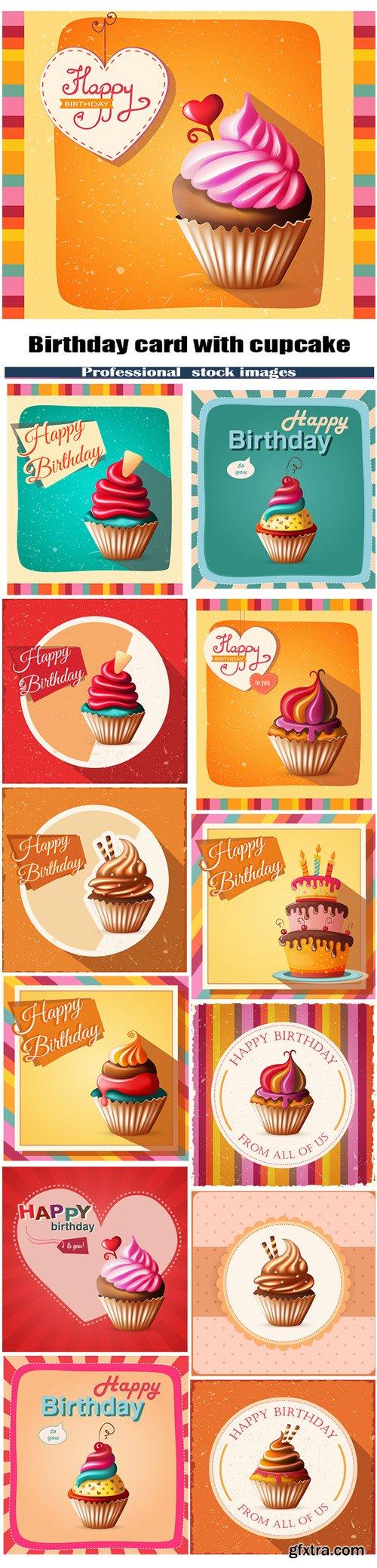 Birthday card with cupcake