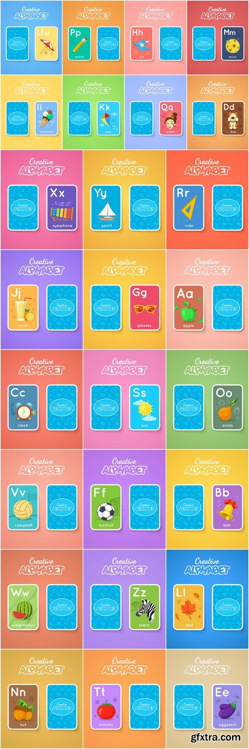 Alphabet Double-Sided Card For Children - 26 Vector