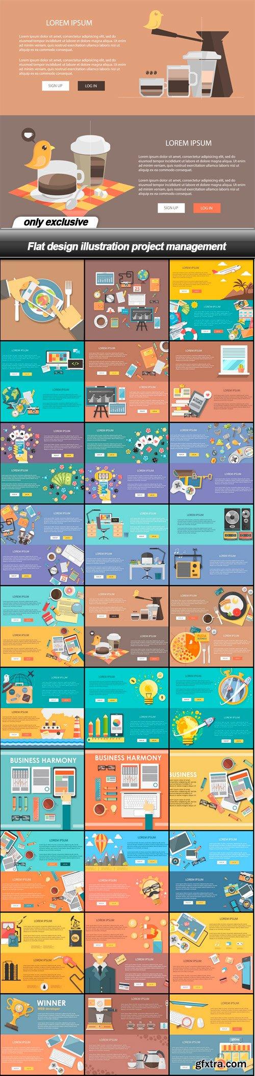 Flat design illustration project management - 30 EPS