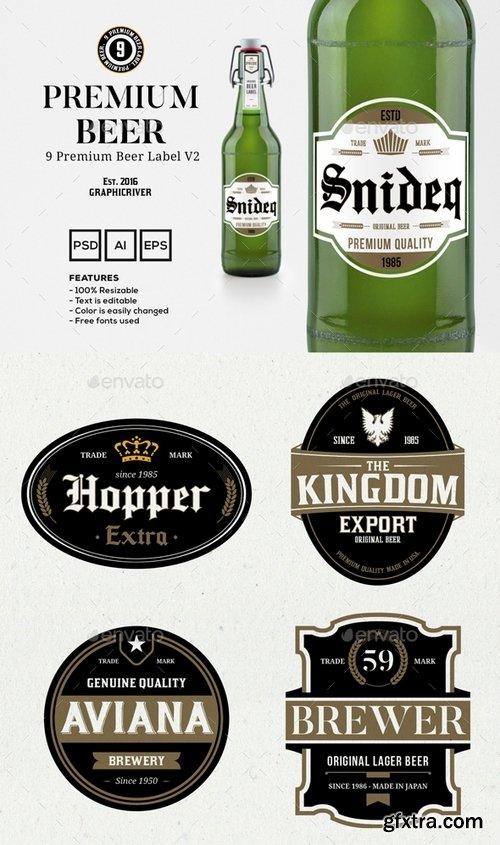 GraphicRiver - 9 Premium Beer Labels V2 15020080