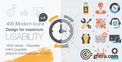 Videohive 400 Animated Icons V4 9564055