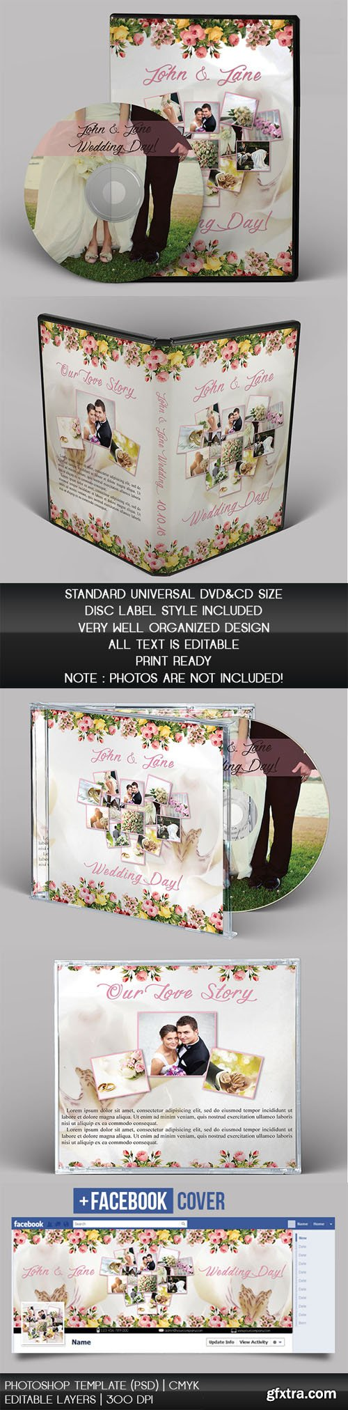 Wedding CD/DVD Cover - PSD Brochure Templates (+ Facebook Cover ...