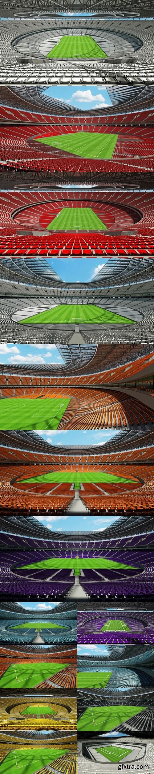 3D render of a round football - soccer stadium with yellow seats and VIP boxes