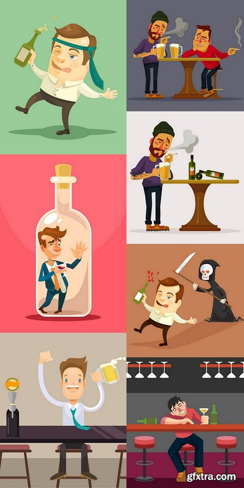 Alcoholic man. Night club. Vector flat cartoon illustration