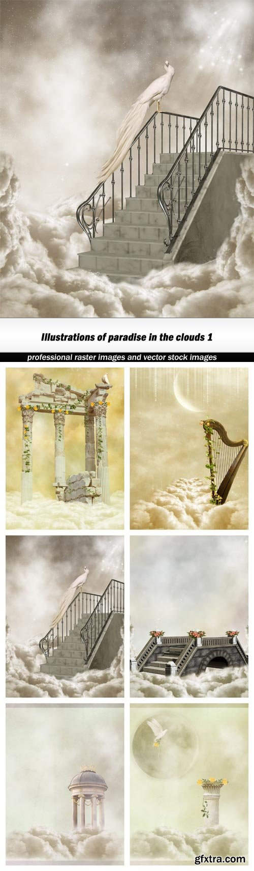 Illustrations of paradise in the clouds 1 - 6 UHQ JPEG