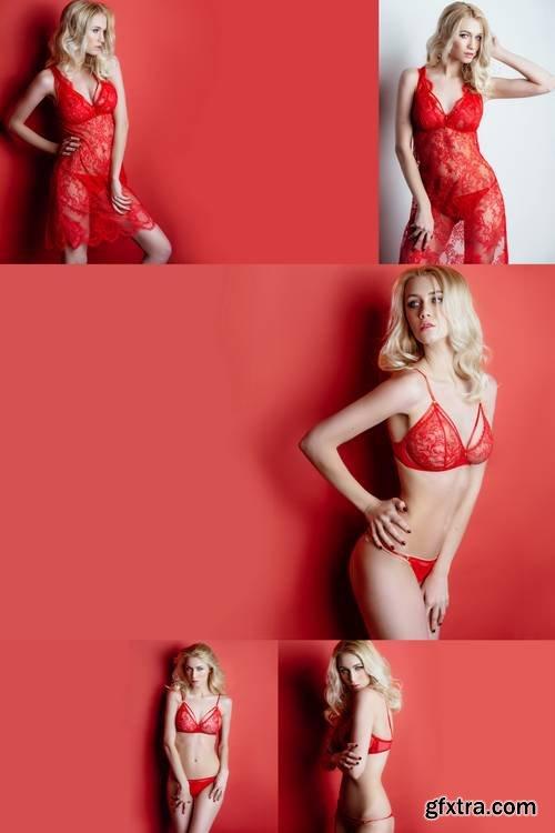 Sexy Blonde Girl in Red Lingerie Posing in the Studio