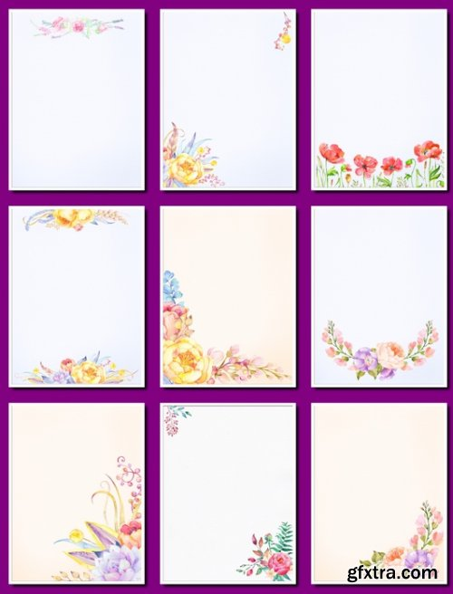 Delicate watercolor backgrounds with flowers