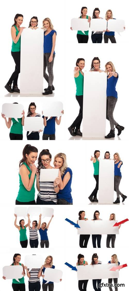 Happy Casual Women Holding Blank Paper