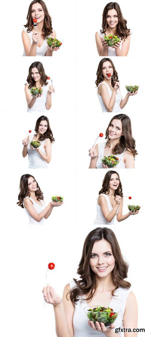 Woman with Salad Isolated