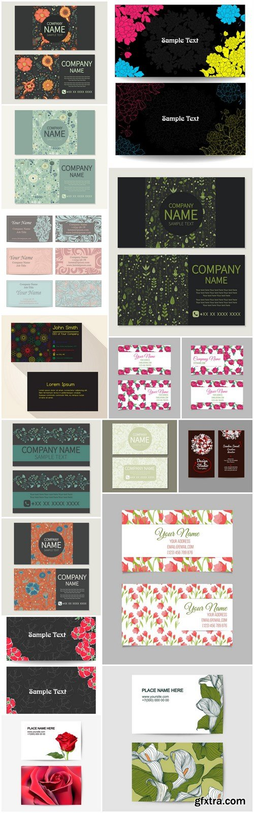 Business Card With Flowers - 16 Vector