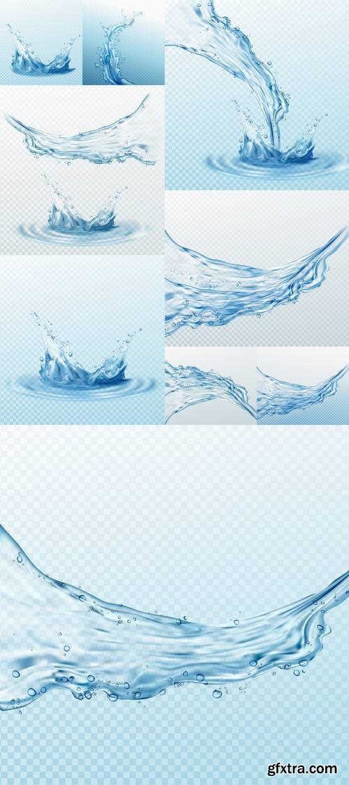 Transparent Water Splashes - Drops Isolated on Transparent Background