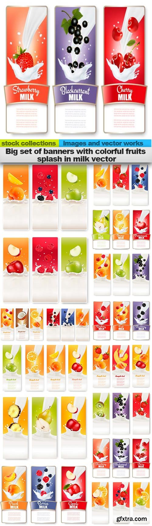 Big set of banners with colorful fruits splash in milk vector, 15 x EPS