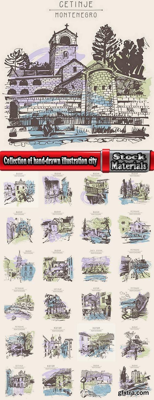 Collection of hand-drawn illustration city in the world building construction 25 EPS