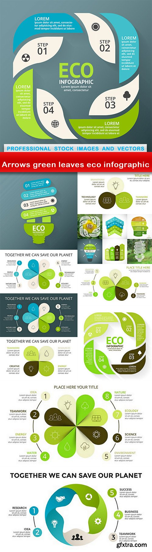 Arrows green leaves eco infographic - 11 EPS